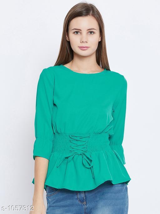 Women's Solid Green Crepe Top