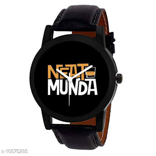 Trendy Black Dial Strap Analog Watch