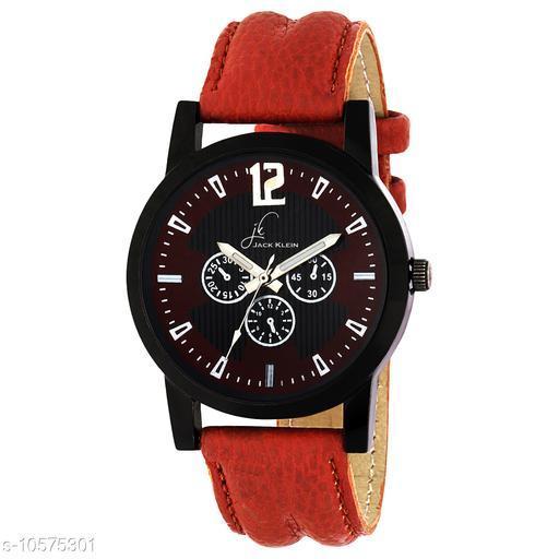 Black Dial Red Strap Quartz Analogue Wrist Watch
