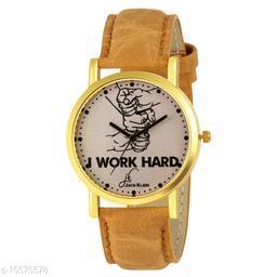 Work Hard Edition Golden Analog Watch
