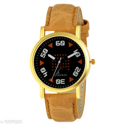Black Dial Golden Case Wrist Watch