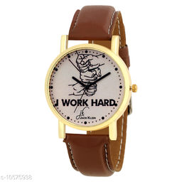 Stylish Beige Golden Dial  Strap Analogue Wrist Watch