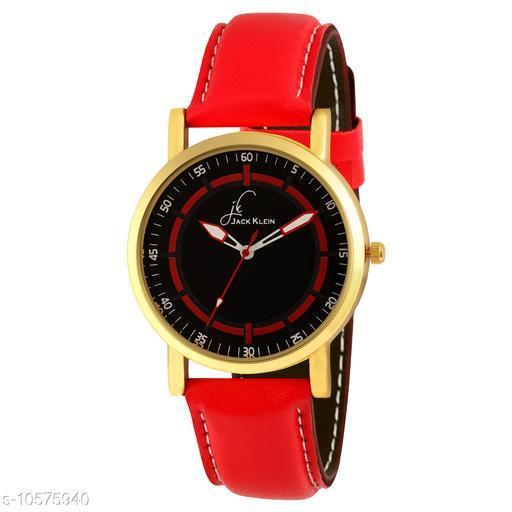Red Strap Black Dial Analog Wrist Watch