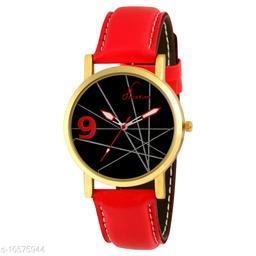 Golden Case Red Strap Analog Wrist Watch