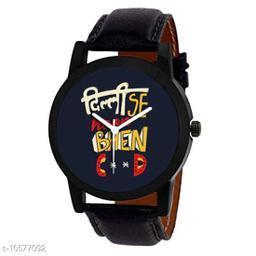 Elegant Blue Dial Black Strap Analog Watch