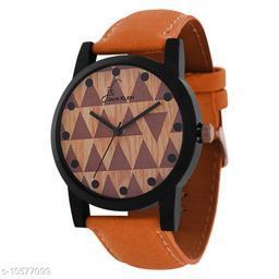 Multi Color Dial Tan Strap Analog Wrist Watch
