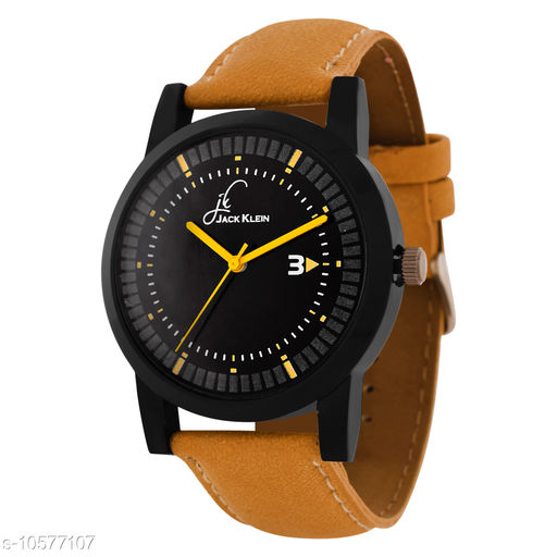 Round Dial Yellow Strap Quartz Analog Wrist Watch