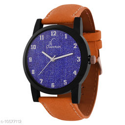 Blue Color Dial Tan Strap Analog Wrist Watch