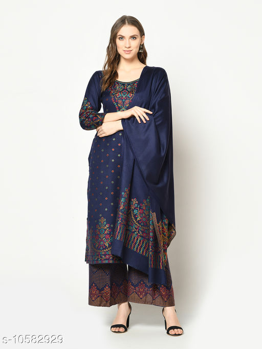 Safaa Acro Wool Woven Suit & Dupatta (Unstiched) For Winter