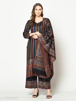 Safaa Acro Wool Woven Stripe Suit With Kani Jaal Dupatta