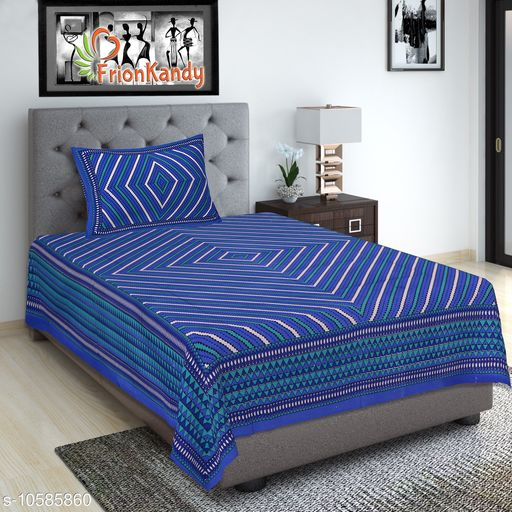 Striped Printed 240 TC Blue Cotton Single Bed Sheet with 1 Pillow Cover