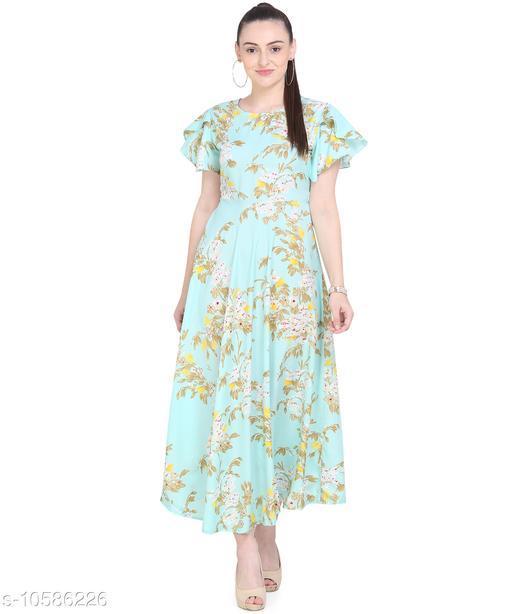 Women'S Crepe A-Line Maxi Dress - Sapphire Blue