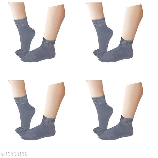 Pinkit Women's Winter Thick Warm Fleece Lined Thermal Stretchy Elastic Velvet Socks (With Thumb) (FreeSize) - 4 Pairs