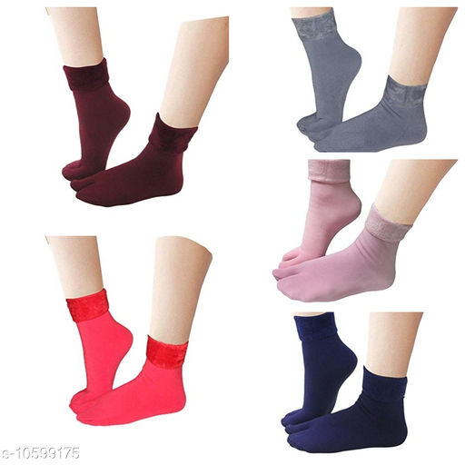 Pinkit Women's Winter Thick Warm Fleece Lined Thermal Stretchy Elastic Velvet Socks (With Thumb) (FreeSize) - 5 Pairs