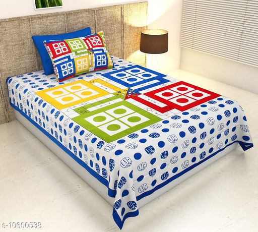 Bedsheets Ludo  *Fabric* Cotton  *No. Of Pillow Covers* 1  *Thread Count* 104  *Multipack* Pack Of 1  *Sizes*   *Single (Length Size* 100 in, Width Size  *Sizes Available* Single *    Catalog Name: Ravishing Alluring Bedsheets CatalogID_1941220 C53-SC1101 Code: 923-10600538-