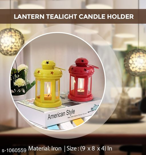 Elegant Lantern Iron Tealight Candle Holder