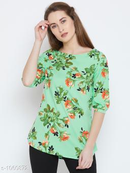 Women's Printed Green Crepe Top