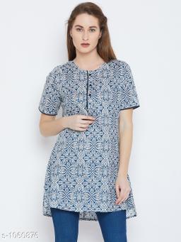 Women's Printed Blue Cotton Top
