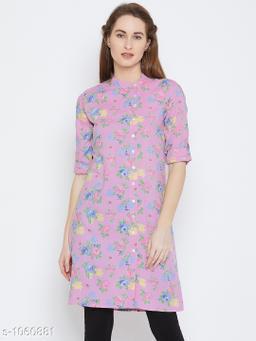 Women's Printed Pink Rayon Top