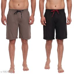 FTX Men's Solid Woven Cotton Shorts - Pack of 2 (513-1_513-5)