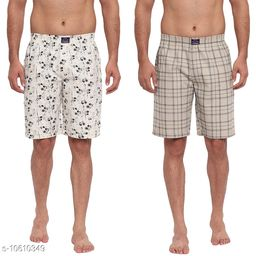 FTX Men's Solid Woven Cotton Shorts - Pack of 2 (509-5_509-7)