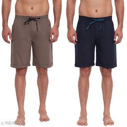 FTX Men's Solid Woven Cotton Shorts - Pack of 2 (513-1_513-3)