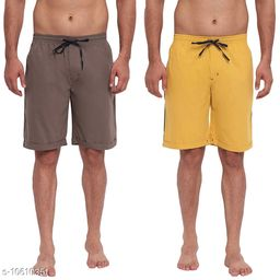 FTX Men's Solid Woven Cotton Shorts - Pack of 2 (513-1_513-2)
