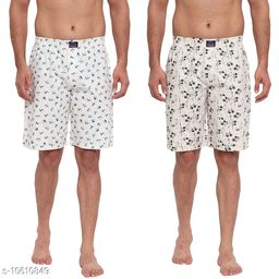 FTX Men's Solid Woven Cotton Shorts - Pack of 2 (509-2_509-5)