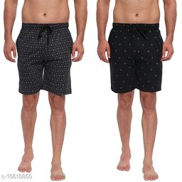 FTX Men's Solid Woven Cotton Shorts - Pack of 2 (714-1_714-3)