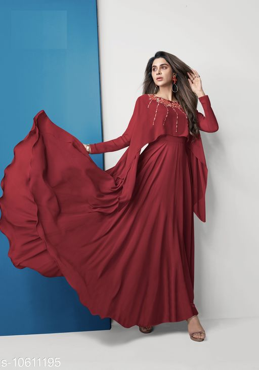 Georgette flared kurta with Ethnic Motif Embroidery