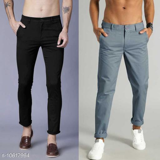 fashlook  flat-front chinos with slant pocket pants