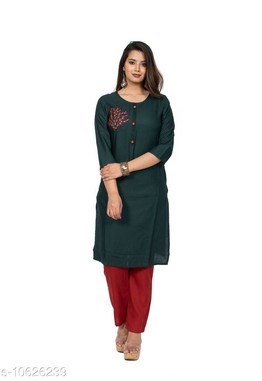 Kurtis & Kurtas Couture Houre Women Rayon R-Neck  Straight  Plain Kurti  *Fabric* Rayon  *Sleeve Length* Three-Quarter  *Pattern * Embroiderry  *Neck * Round  *Combo of* Single  *Sizes* XL (Bust Size  *Sizes Available* Semi Stitched *    Catalog Name: Couture Houre Women Rayon R-Neck  Straight  Plain Kurti CatalogID_1947681 C74-SC1001 Code: 665-10626239-