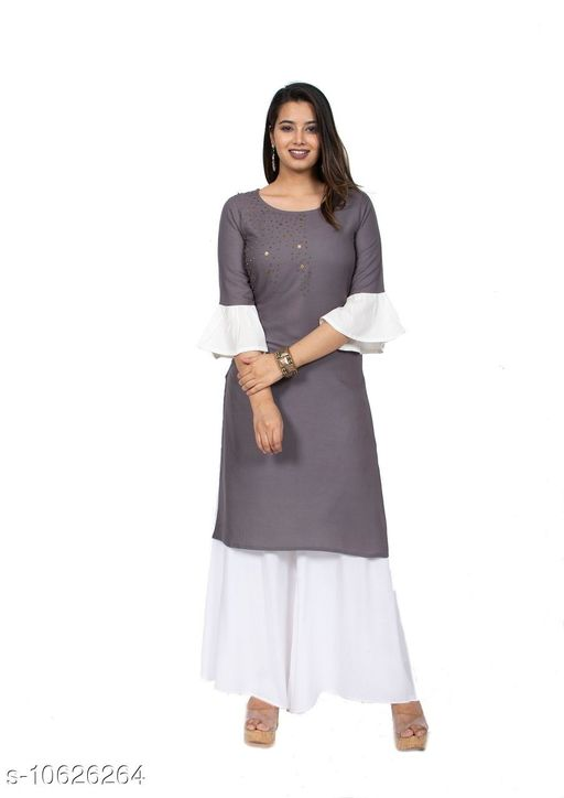 Kurtis & Kurtas Couture Houre Women Rayon R-Neck  Straight  Plain Kurti  *Fabric* Rayon  *Sleeve Length* Three-Quarter  *Pattern * Embroiderry  *Neck * Round  *Combo of* Single  *Sizes* XL (Bust Size  *Sizes Available* Semi Stitched *    Catalog Name: Couture Houre Women Rayon R-Neck  Straight  Plain Kurti CatalogID_1947681 C74-SC1001 Code: 665-10626264-