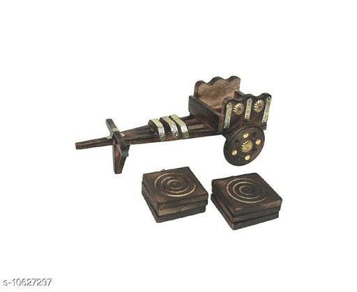 Shreya Creation handmade Antique Finish Wooden Tope Shape Tea coaster for Kitchen/ Coaster/Tea Coaster/Coaster Set/Diing Table/set of 6