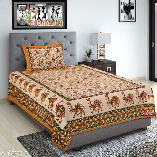 Traditional Camel Print Cotton 240 TC Brown Superfine Single Bed Sheet with 1 Pillow Cover