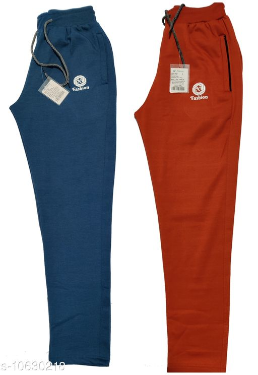 NI Men's Super Track Pant/ Lower with Zipper Pocket (Set of 2 Pieces)