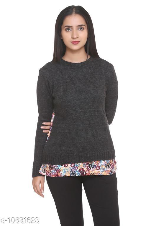 HANG N HOLD Women Acrylic Blend Regular Fit Round Neck Full Sleeve Winter Cardigan
