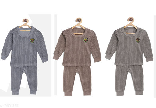 Thermals Kid's Unisex Thermal Set Pack Of 3 Fabric: Cotton Sleeve Length: Long Sleeves Type: Set Multipack: 3 Sizes:  3-6 Months (Top Bust Size: 14 in, Top Length Size: 14 in, Bottom Waist Size: 14 in, Bottom Length Size: 14 in, Bottom Hip Size: 14 in)  4-5 Years (Top Bust Size: 26 in, Top Length Size: 26 in, Bottom Waist Size: 26 in, Bottom Length Size: 26 in, Bottom Hip Size: 26 in)  3-4 Years (Top Bust Size: 26 in, Top Length Size: 26 in, Bottom Waist Size: 24 in, Bottom Length Size: 24 in, Bottom Hip Size: 24 in)  6-12 Months (Top Bust Size: 16 in, Top Length Size: 16 in, Bottom Waist Size: 16 in, Bottom Length Size: 16 in, Bottom Hip Size: 16 in)  12-18 Months (Top Bust Size: 18 in, Top Length Size: 18 in, Bottom Waist Size: 18 in, Bottom Length Size: 18 in, Bottom Hip Size: 18 in)  18-24 Months (Top Bust Size: 20 in, Top Length Size: 20 in, Bottom Waist Size: 20 in, Bottom Length Size: 20 in, Bottom Hip Size: 20 in)  2-3 Years (Top Bust Size: 22 in, Top Length Size: 22 in, Bottom Waist Size: 22 in, Bottom Length Size: 22 in, Bottom Hip Size: 22 in)  Sizes Available: 2-3 Years, 3-4 Years, 4-5 Years, 3-6 Months, 6-9 Months, 6-12 Months, 9-12 Months, 12-18 Months, 18-24 Months, 0-1 Years, 1-2 Years *Proof of Safe Delivery! Click to know on Safety Standards of Delivery Partners- https://ltl.sh/y_nZrAV3  Catalog Rating: ★3.8 (558)  Catalog Name: Smarty Casual Kids Girls Thermals CatalogID_1949055 C62-SC1163 Code: 575-10631865-