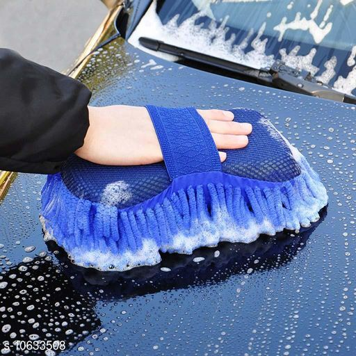 Microfiber Car Wash Sponge, Double Sided Car Wash Sponge with Built in Hand-Strap