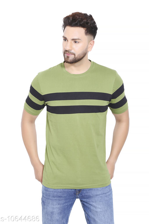 VGO Trends Mens Casual Round Neck Green Tshirt