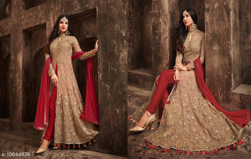 New designer Red anarkali gown type net fabric embroidered semi-stitched anarkali salwar suit