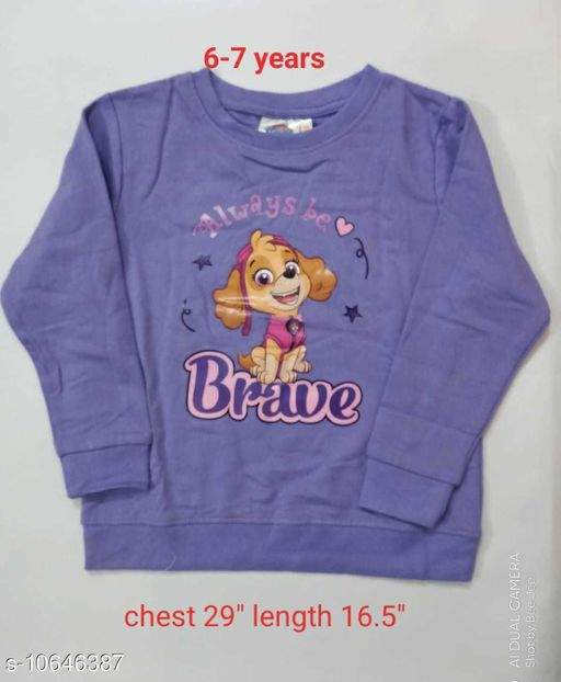 Sweatshirts & Hoodies Kids Sweatshirt for girls  *Fabric* Wool  *Pattern* Solid  *Multipack* 1  *Sizes*   *6-7 Years (Bust Size* 29 in, Length Size  *Sizes Available* 6-7 Years *    Catalog Name: Princess Classy Girls Sweatshirts CatalogID_1952696 C62-SC1161 Code: 893-10646387-