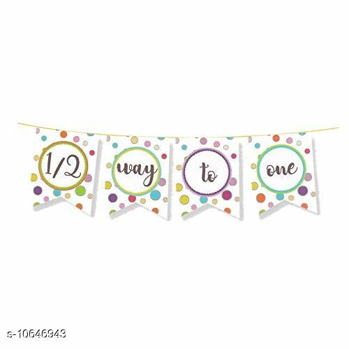 HIPPITY HOP® Half Birthday Party Banner, Party Bunting, Party Decoration, Boys 1/2 Birthday Party Supplies/ Girls 1ST Birthday Party Decoration, Birthday, First Birtday Theme (Half 1/2 Way to One)