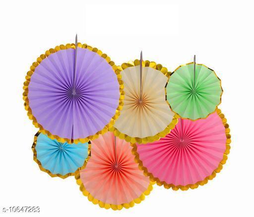 HIPPITY HOP® Party Fans, Party Decoration Materials, Round Paper Fans, Party Fans, Paper Decoration, Pinwheel Decoration for Decoration(Pack of 6) Multi Colour with Golden Edges
