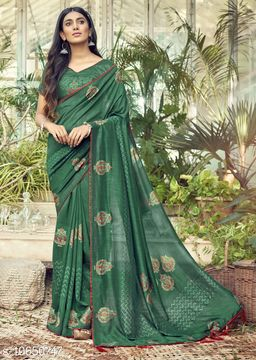 Vallabhi Prints Green Color Chanderi Silk Festival Wear Printed Saree With Blouse Piece