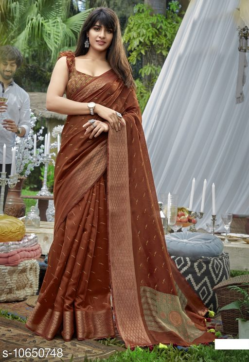 Vallabhi Prints Brown Color Cotton Festival Wear Printed Saree With Blouse Piece