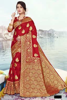 Vallabhi Prints Red Color Jacquard Silk Party Wear Saree With Blouse Piece