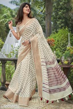 Vallabhi Prints Cream Color Cotton Festival Wear Printed Saree With Blouse Piece