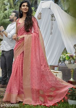Vallabhi Prints Pink Color Cotton Festival Wear Printed Saree With Blouse Piece