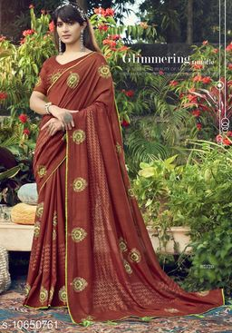 Vallabhi Prints Brown Color Chanderi Silk Festival Wear Printed Saree With Blouse Piece